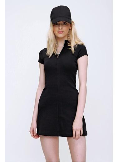 Pink Park Önü Fermuarlı Kaşkorse Elbise TI00007 Siyah